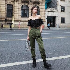 Image 4 - Vangull גבוהה מותניים מכנסיים חדש רופף רצים נשים צבא הרמון camo מכנסיים streetwear פאנק שחור מטען מכנסיים נשים capris מכנסיים
