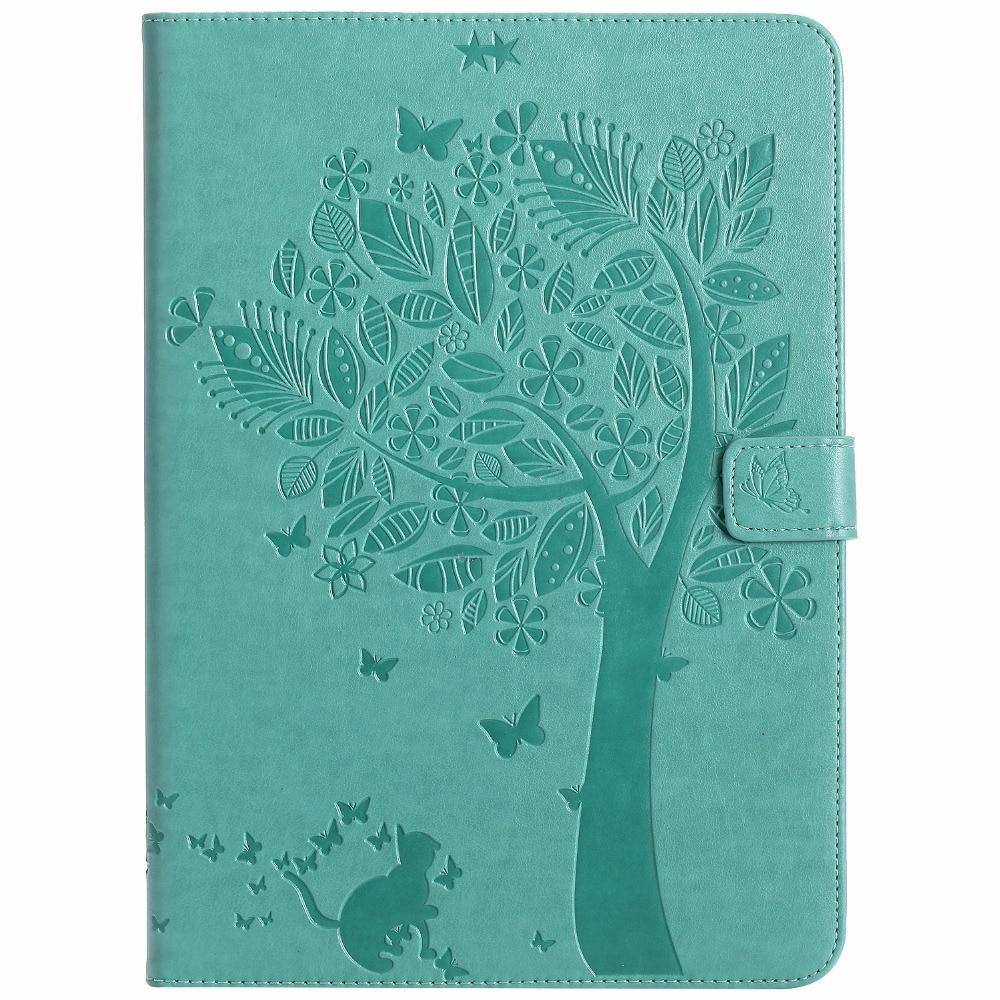 maosenguoji Embossed tree Cat Bracket pocket Tablet Case For Apple ipad Air 1/2 for ipad 5/6 Smart wake up/sleep Function cover