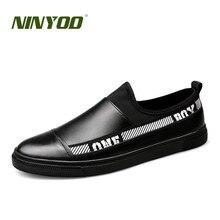 NINYOO New Fashion Brand Skor Män Äkta Läder Skor Sommar Lägenheter Andas Låtar Mockasiner Tillfälliga Skor Plus Storlek 38-48