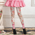 Quality print stockings sweet bow lolita pink rose pantyhose female girl women tights