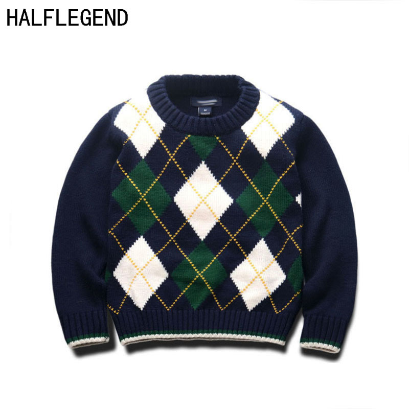 New Children's pullover Boys Sweaters Rhombus knit Sweaters O-Neck Children's clothing for boys Pullover for Baby Boys 2-8Years