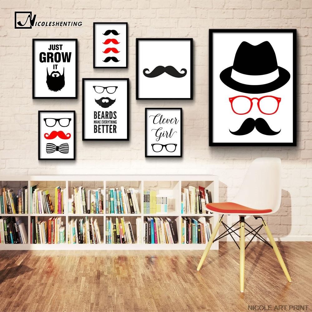 Beard Glasses Abstract Art Canvas Poster Minimalist Print
