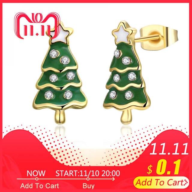 34389376675f6 US $2.49 |Gold Color Earring Christmas Tree stud Earrings Green Enamel  Earring for Women Jewelry Xmas gift-in Stud Earrings from Jewelry &  Accessories ...
