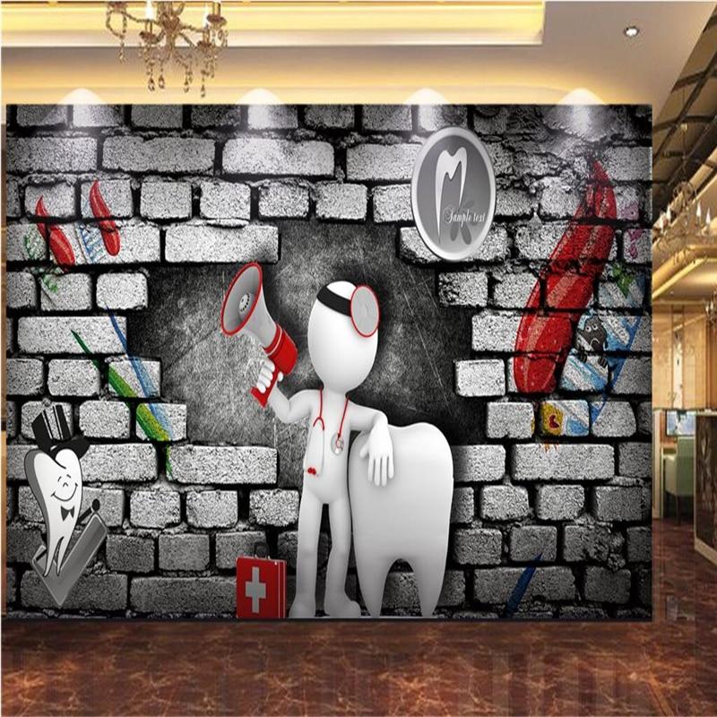 Us 885 41 Offbeibehang Custom 3d Wallpaper 3d Brick Wall Doctor Dentist Horn Villain Wallpapers Decorative Wall Decoration In Wallpapers From Home