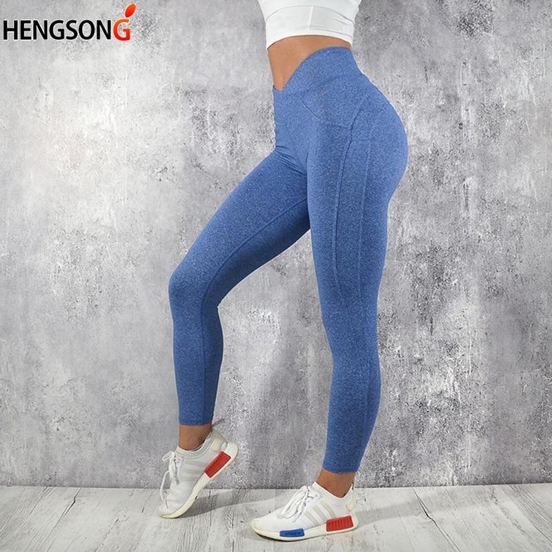 Hip Push Up Di Fitness Legging Delle Donne Di Compressione M Linea Butt Lift Workout Leggings Stretch Pantaloni Senza Soluzione Di Continuità Per Le Donne Solido