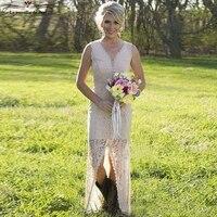 Vestido de invitados país estilo de la boda del nuevo cordón atractivo Vneck sirena de champán vestidos de dama de honor larga vestidos del banquete de boda