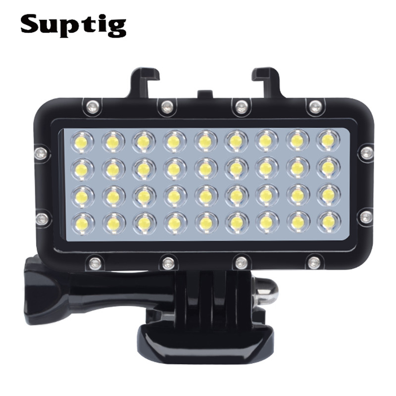 Suptig For Gopro Accessories 147ft Diving Underwater Waterproof LED Video Light for GoPro Hero5 6 3/4 SJCAM Yi 4k Action Camera scuba dive light