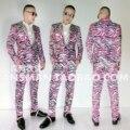Nova Chegada 2017 roupa dos homens magro Cantor DJ GD Rosa zebra Mens moda terno Boate figurinos Homens Casacos jaqueta S-5XL
