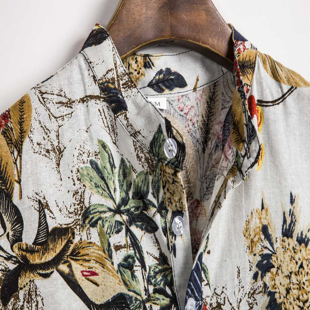 Summer Man Shirt Mens Ethnic Printed Stand Collar Cotton Linen Stripe Short Sleeve Loose Hawaiian Henley Shirt hawaiian shirt 3