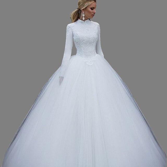 2018 New Arrival Vintage Muslim Bride Wedding Dress Long Sleeves ...