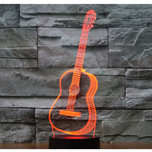 3D LED Night Light Music Guitar with 7 Colors Light for Home