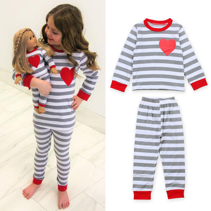 Kids Night Suits For Girls Clothing Sets Cute Hearts Print Pajamas Sets For Baby Girls Outfits 2-7 Years Autumn Clothes DS15