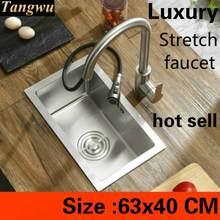 Fregadero manual de cocina grande para el hogar, grifo elástico de lujo, 63x40 CM, 304, gran oferta, envío gratis