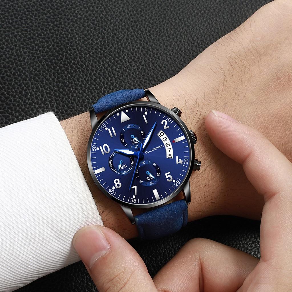 CUENA, модные простые Брендовые мужские часы, военные Роскошные Аналоговые часы с кожаным ремешком, деловые мужские часы, кварцевые наручные ч...