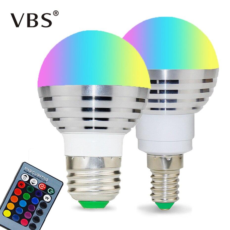 110V 220V E27 E14 RGB LED Bulb 85-265V 16 Color Magic LED Night Light Lamp Dimmable Stage Light 24key Remote Control Holiday