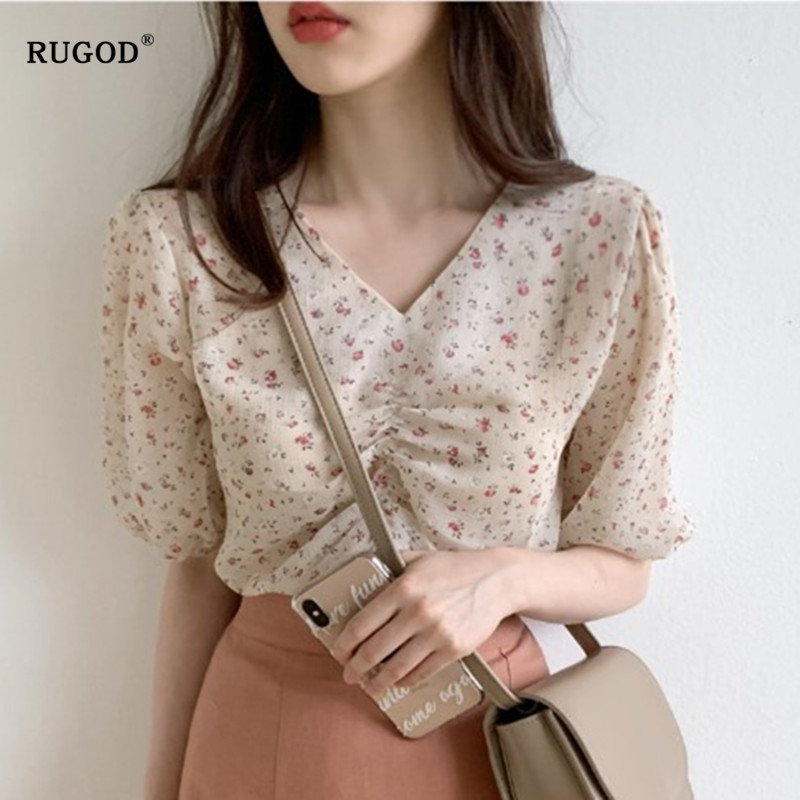 RUGOD New Floral Print Womens Tops And Blouses V Neck Waist Slim Blouse Short Sleeve Blusas Mujer De Moda 2019