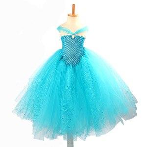 Image 5 - فستان توتو للأميرة برّاق أزرق للبنات مستوحى من إلسا لحفلات الزفاف من حجر الراين للأطفال فستان حفلات أعياد الميلاد للأطفال