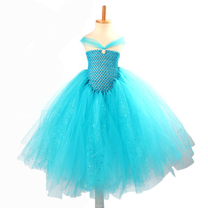 Image 5 - หญิงสีฟ้า Glitter เจ้าหญิง Tutu ชุด Elsa เด็ก Rhinestone งานแต่งงาน TUTU บอลชุดเด็กพรหมชุดวันเกิด