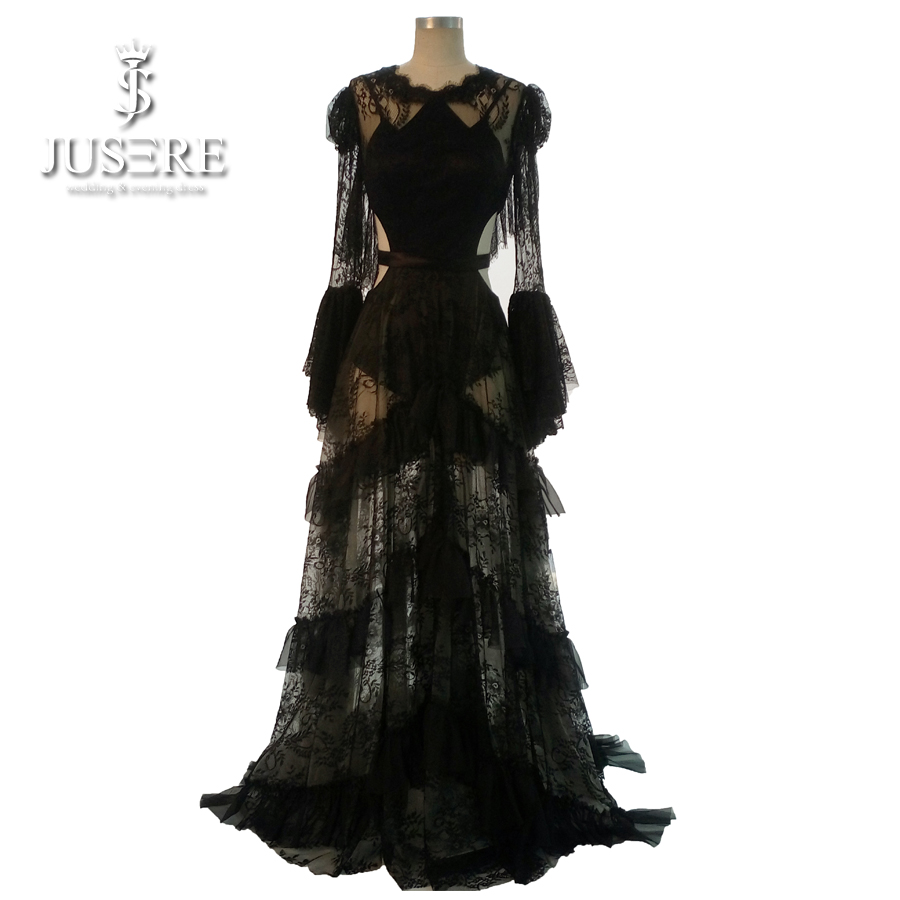 Rosetic Gothic Maxi Dress Black Women Summer Lace A-Line Goth Long Casual Fashion Young Girl Party Hollow Waist Prom Gown 2018