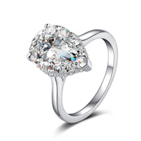 925 sterling silver 5 carat diamond ring pear shaped female ring