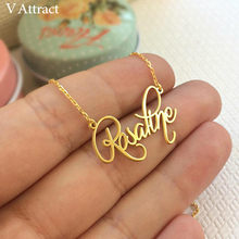 V Attract Personalized Custom Name Necklace For Women Customized Cursive Nameplate Handmade Choker Best Friend Birthday Gift(China)