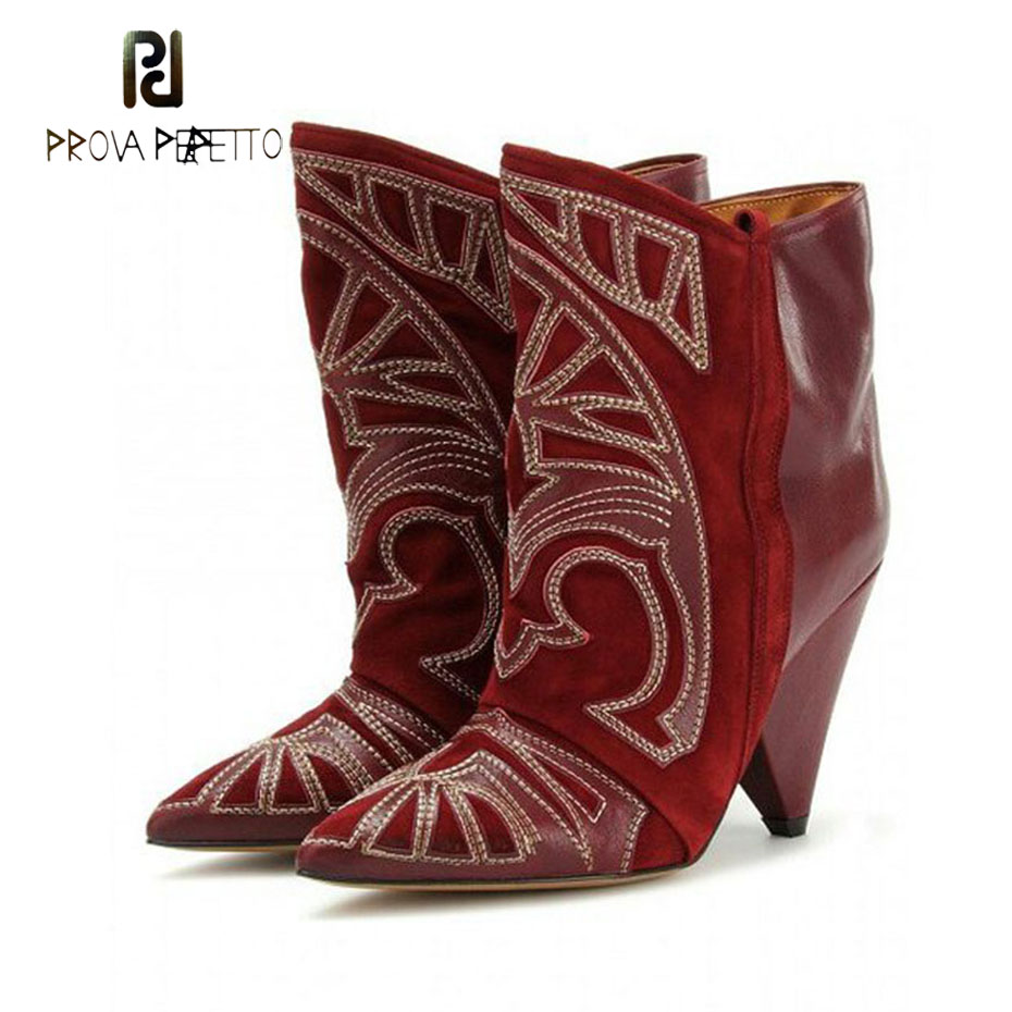 Prova Perfetto genuine leather embroidery cowboy short boots women pointed toe spike high heel knight ankle boots femalesProva Perfetto genuine leather embroidery cowboy short boots women pointed toe spike high heel knight ankle boots females