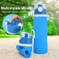 750ML Sport Portable Leakproof Collapsible Water Bottles 100 Food Grade Silicone Foldable Water Bottle Drinkware Free