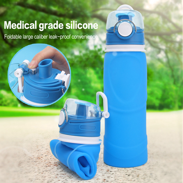 8acf7b833d 750ML Sport Portable Leakproof Collapsible Water Bottles 100% Food Grade Silicone  Foldable Water Bottle Drinkware Free Shipping