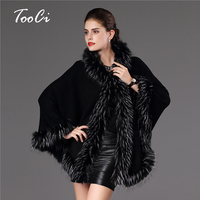 High Quality Autumn Winter Warm Poncho Fake Fur Hooded Long Knitted Cape Cloak Wool Cashmere Sweater