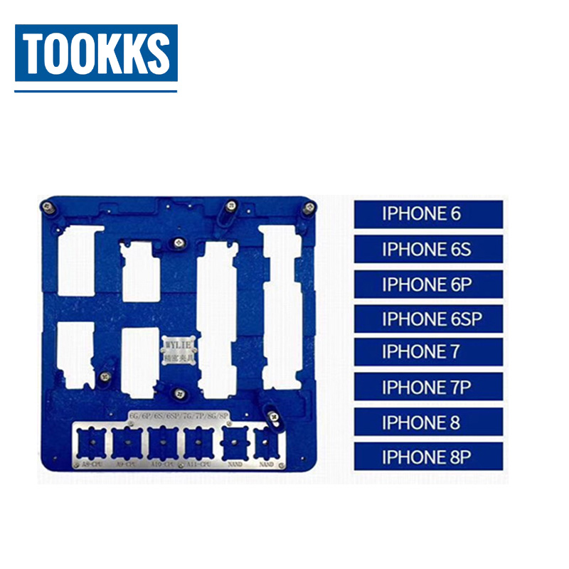 8 in 1 iPhone Mainboard Fixture Phone Repair Motherboard Fixture For iPhone 6 6S 6P 6SP 7 7P 8 8 Plus IC Chip PCB Board Holder high temperature resistant motherboard pcb holder fixture jig work station for iphone 6 6p 6s 6sp 7 7p logic board clamps