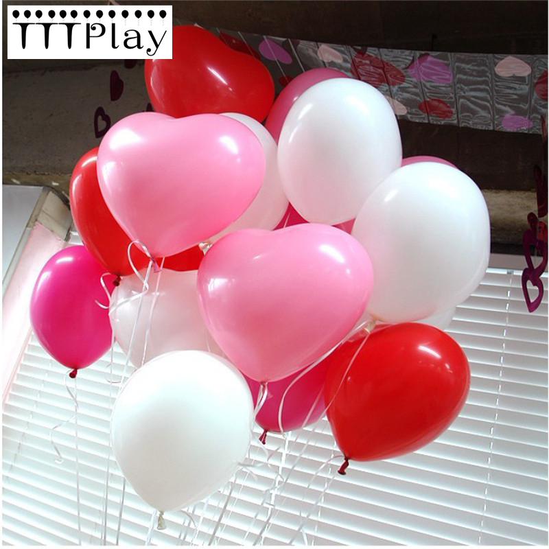10pcs Romantic 12 Inch Love Heart Latex Balloons Inflatable Wedding Decoration Air Balls Valentines Day Birthday Party Supplies