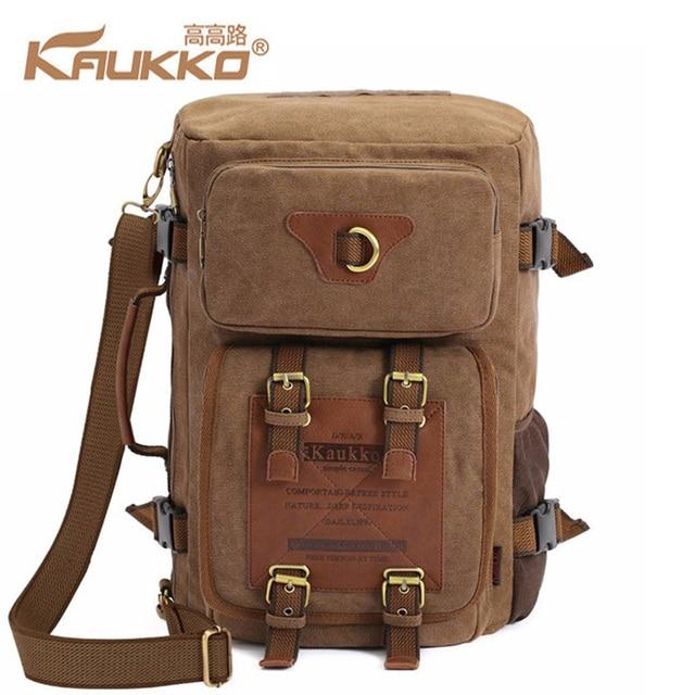 Kaukko Men S Fashion Patchwork Canvas Backpacks Travel Bags Large