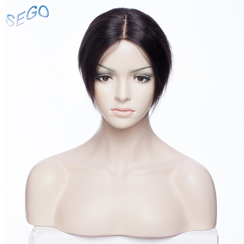 SEGO 6 Inch Straight Fine Mono Hair Topper Toupee For Women Pure Color Human Hair Pieces Clip in Toupee Hairpieces 150% Density