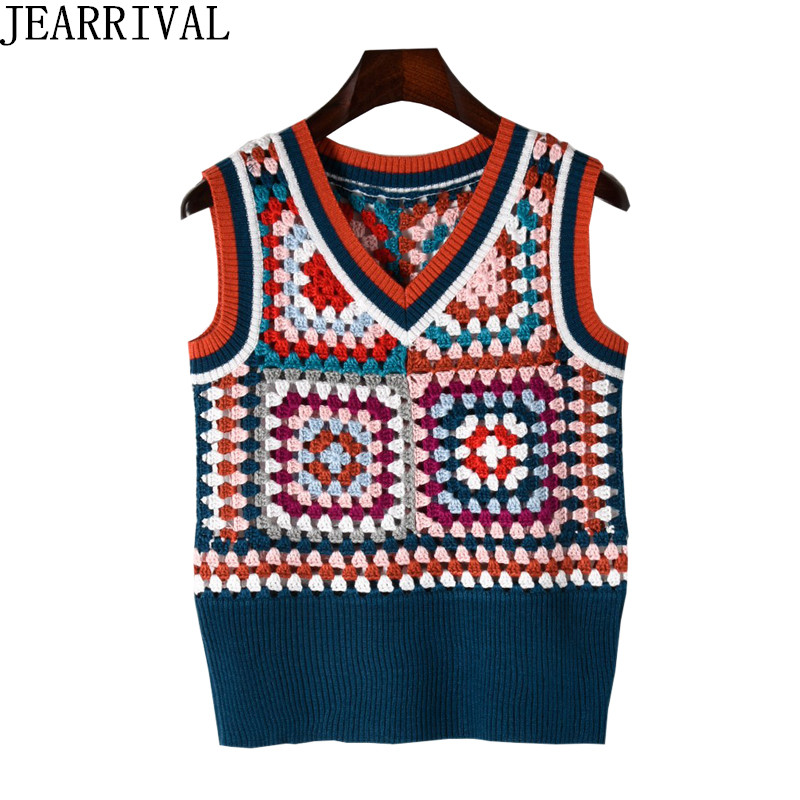 New Design Knitted Tops 2018 New Spring Fashion Women Sleeveless Vintage Ethnic Casual Pullover Crochet Sweater Pull Femme