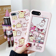 Relief Case For iPhone XR XS MAX 8 7 6s Plus Pink Pompompurin Cartoon Pattern Animal Doll Soft Candy TPU Full Cover Coque Fundas