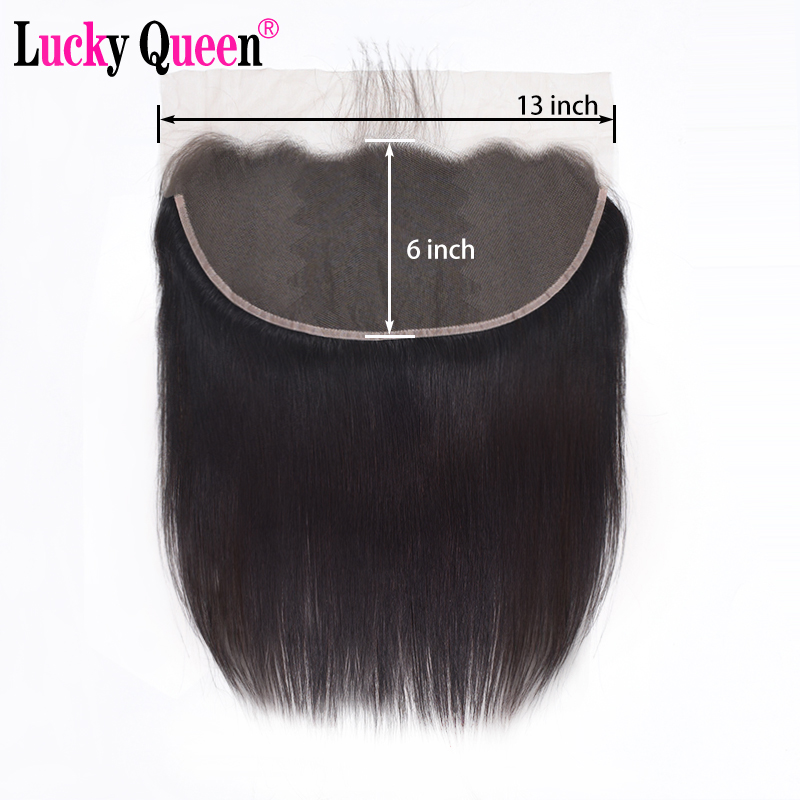 Lace-Frontal-Closure Baby-Hair Free-Part Ear-13x6 Pre-Plucked Straight Brazilian 100%Human-Hair