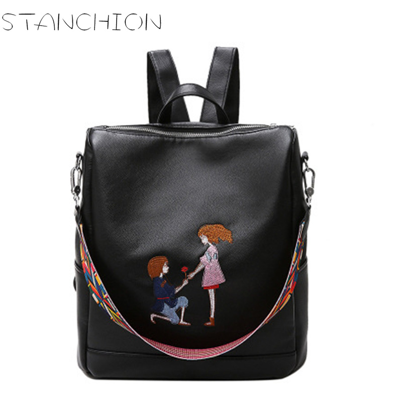 STANCHION PU Leather Backpack for Women Beautiful Bmbroidery Large Capacity Multi purpose Travel Shoulder Bag