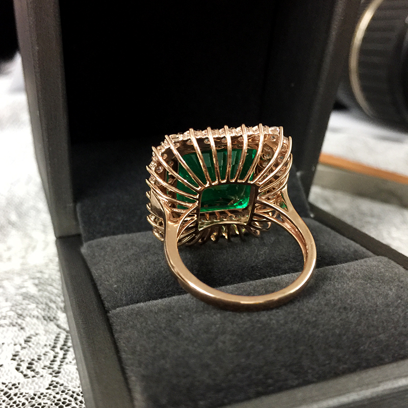 Image 3 - Fine Jewelry Real 14K Rose Gold 8ct AAA Colombian Lab Grown Emerald like Natural with Moissanite Gemstone Wedding Rings-in Rings from Jewelry & Accessories