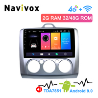 Navivox 2.5D IPS 2Din 4G Android 9.0 Car DVD Player for Ford Focus 2 3 2004 2011 Mondeo Galaxy S max smax Kuga c max Multimedia