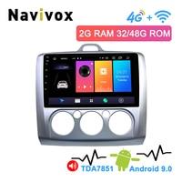 Navivox 2.5D ips 2Din 4G Android 9,0 автомобильный dvd плеер для Ford Focus 2 3 2004 2011 Mondeo Galaxy S max smax Kuga c max мультимедиа