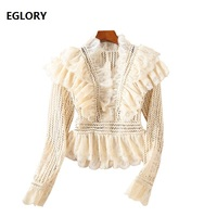 Top Grade New Fashion Designer Blouse 2018 Autumn Winter Lace Tops Women Sexy V Neck Ruffle Blouse Ladies Apricot Pink Shirt