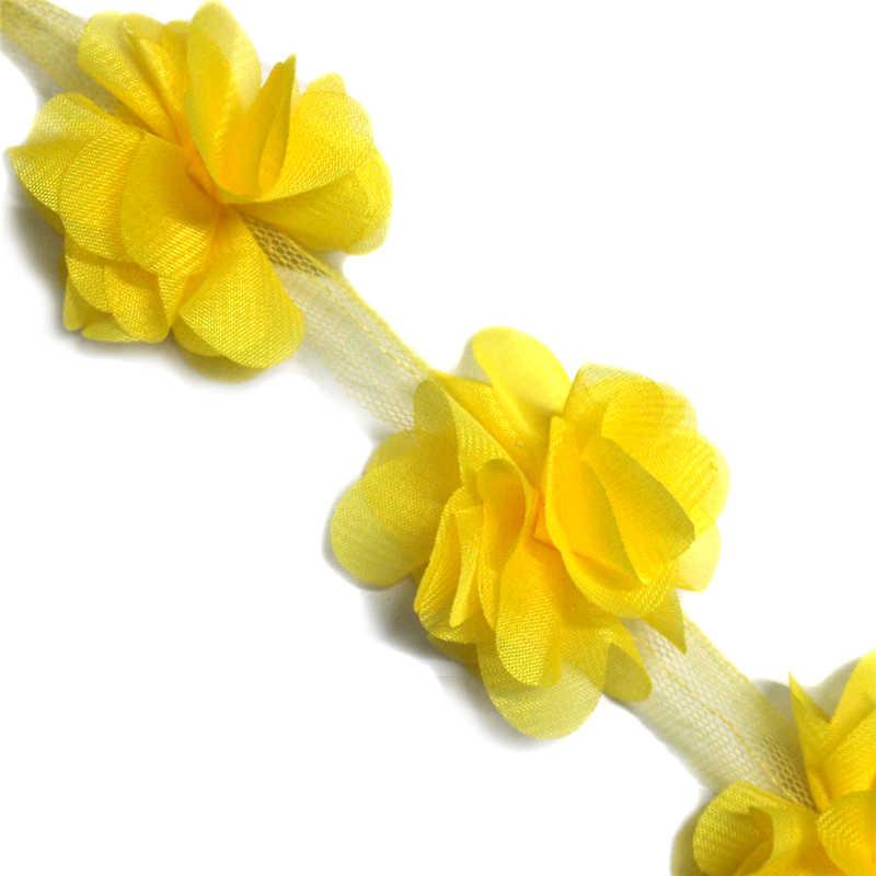 1 stoczni 3D sztuczne kwiaty wykończenia wstążka z frędzlami i kuleczkami akcesoria do szycia DIY koronki Rainbow kolor ręcznie dostaw tkaniny gipiury