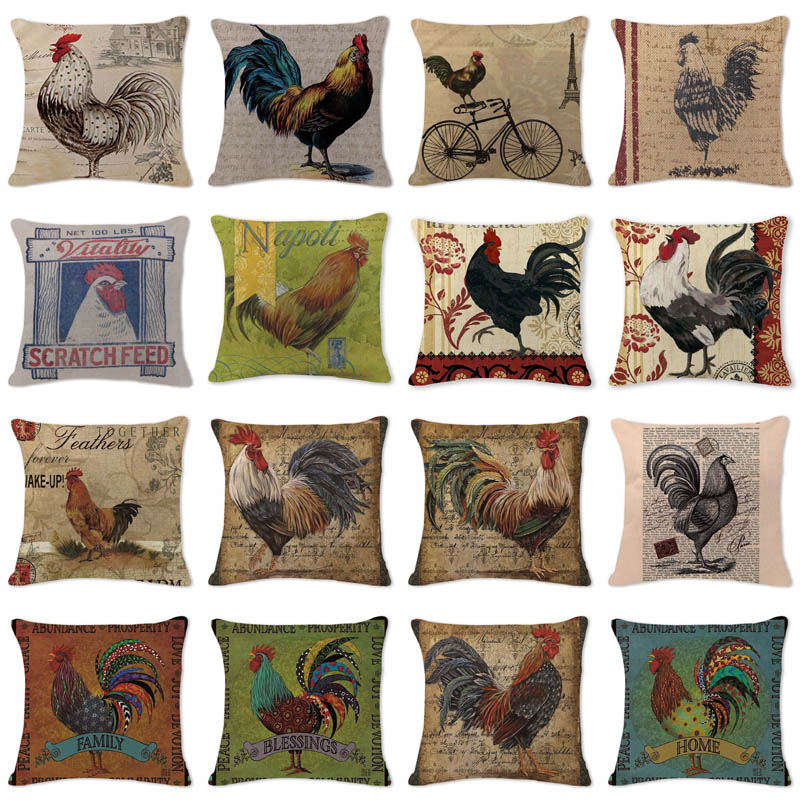 Letter Chicken Cool Cushion Cover Cutton Linen Couch Car Sofa Bedroom Home Decorative Throw Pillow Textile Printed Pillow Case