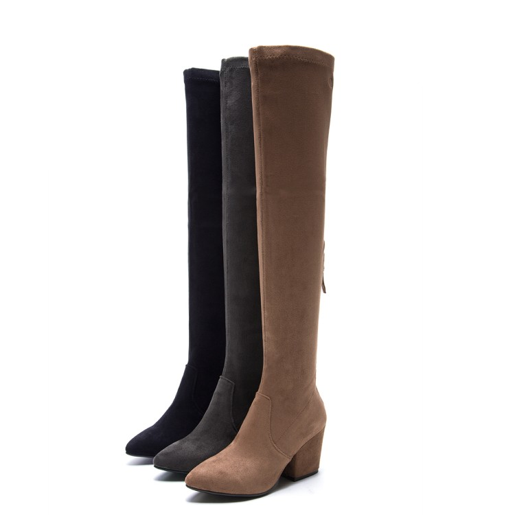 Encima La gris Las Estiramiento Alto Invierno Negro Cuero Mujeres 2019 Tacón Por Mujer Moda marrón Gamuza Alta Rodilla Botas Zapatos Nueva De {zorssar} TwBqfaxW