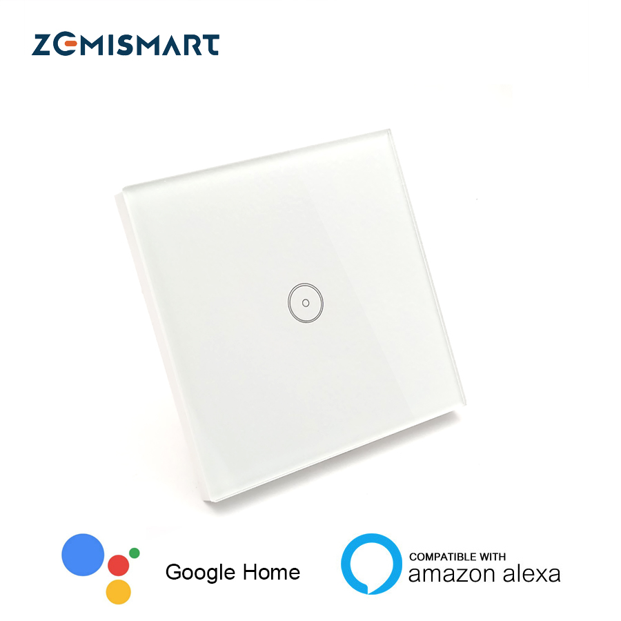 EU 1 Gang Wall Switch Work with Echo WiFi Smart Remote Control Light Switch Panel Control via APP or Voice Control by Alexa tuya cybernetics or control