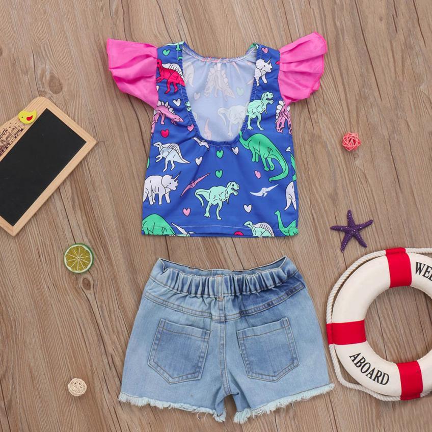 MUQGEW children girl cotton clothes sets 2018 Summer clothing set Dinosaur Cartoon Ruffles Tops T-Shirt s+ Denim Shorts Outfits