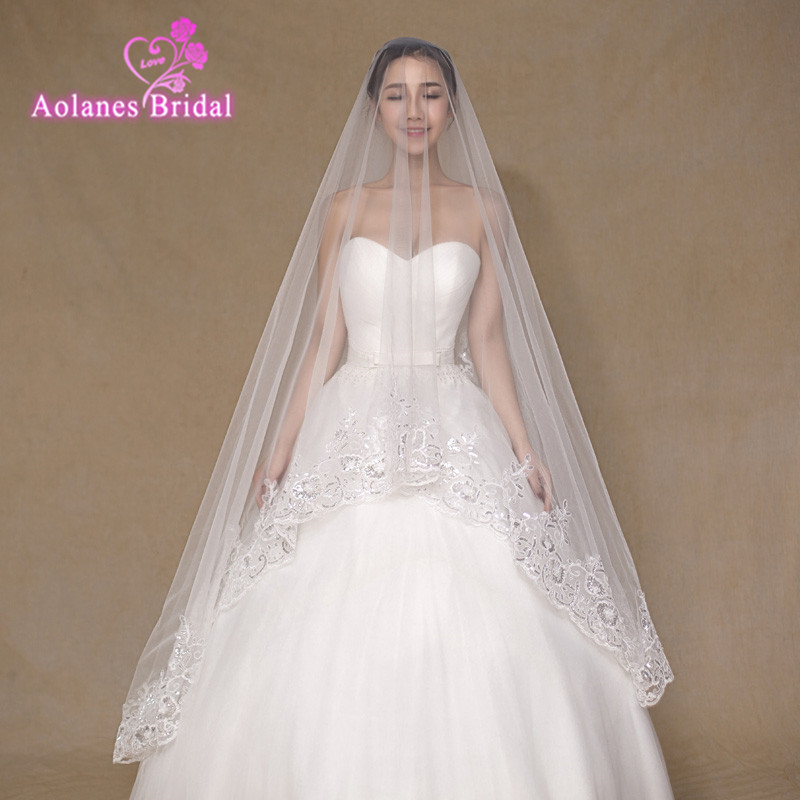 2017 Real Photos Ivory Wedding Veil 3m Long Lace Sequins Appliques Edge Mantilla Bridal Veil Wedding Accessories Veu De Noiva