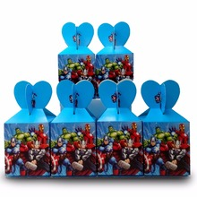 6pcs/set The Avengers Party Supplies Paper Candy Box Cartoon Kids Birthday Party Decorations Avengers Paper Candy Box Party 1