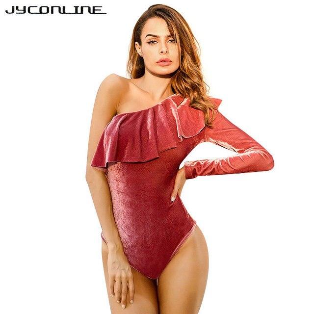 294ae77e08 JYConline Off Shoulder Velvet Ruffle Bodysuit Women Sexy Jumpsuit Romper  Autumn Winter Party Club Bodysuit Fitness