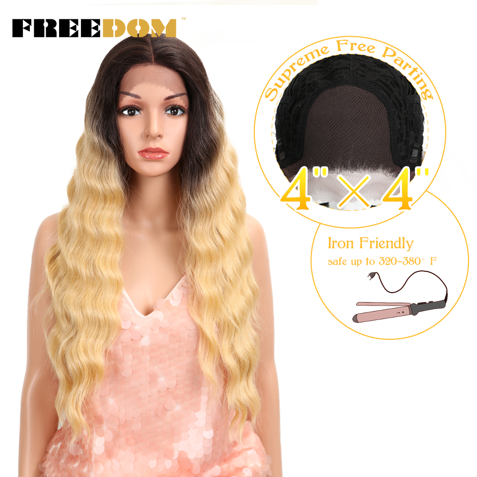 FREEDOM Synthetic Lace Front Wig 4*4 inch Lace frontal 28 Inch Deep Wave Blond Wig beauty Fashion Wig American Hot Sale Fantezi